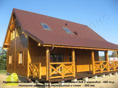Каркасный дом для круглогодичного проживания 9х6 с верандой