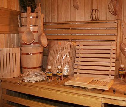 Аксессуары для бань и саун: черпаки, термометры, подголовники, вешалки, шапки
