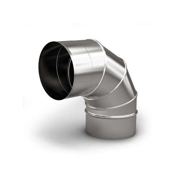 Дымоход из нержавеющей стали. Отвод 90°,а также различные заглушки, шиберы, хомуты, кронштейны и п