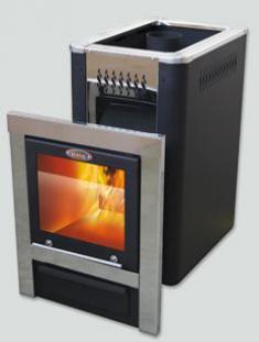 Печь для бани Vira Crystal 12,18. Дверца с панорамным светопрозрачным экраном и зеркальной хромиров