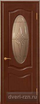 Дверь шпонированная Венера-К (темный анегри) остекленная