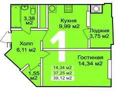 1 комната, 39.12 м2