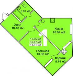 1 комната, 48.74 м2