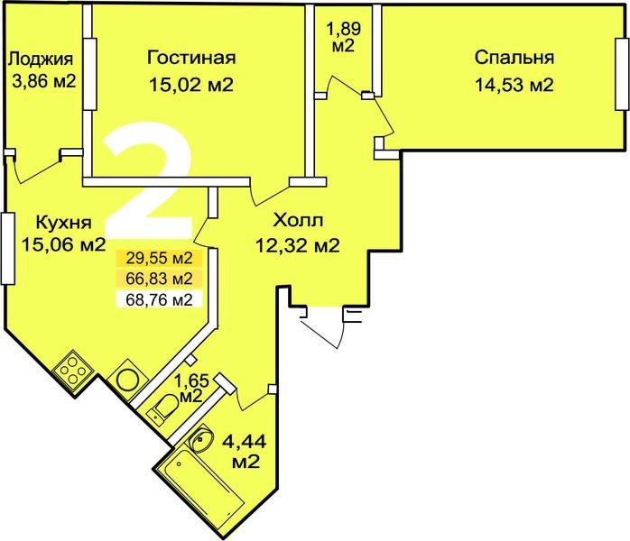 2 комнаты, 68.76 м2
