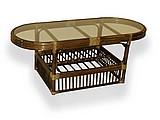Стол со стеклом из ротанга большой 01-06A1О