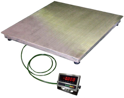 Электронные напольные платформенные весы (товарные) EB4-P (WI-9R) из нержавеющей стали 1000x1000
