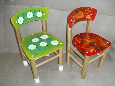 Детские стульчики с художественной росписью