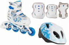 Роликовые коньки детские раздвижные Reaction в комплекте со шлемом и защитной экипировкой