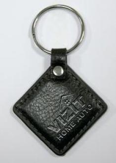 Ключ RF (RFID брелок EM-Marin). Кожаный брелок с теснением логотипа (красный, черный, коричневый ).